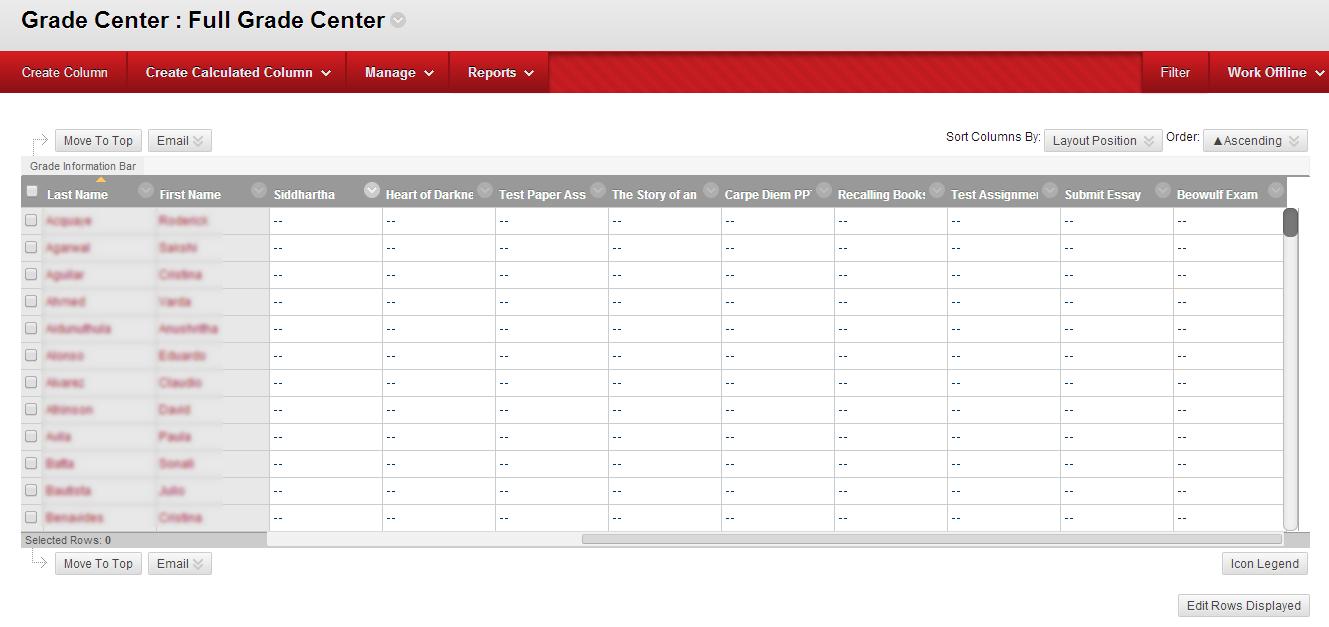 Screenshot of Blackboard Grade Center